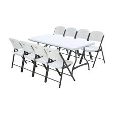 6 foot folding table home depot lifetime 6 ft white granite stacking table and chair combo 8 pack