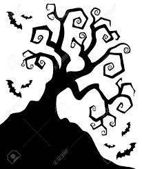 halloween clipart spooky tree pencil and in color halloween