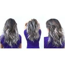 grey silver metallic balayage on dark hair wavy silver hair in