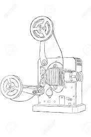 sketch of vintage projector with film tape stock photo picture