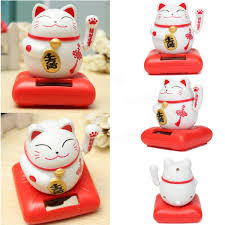 cat home decor solar powered maneki neko welcoming lucky beckoning fortune cat