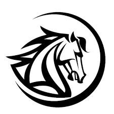 horse head in circle tribal tattoo design