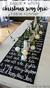 christmas song lyric table runner and christmas table setting