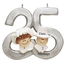 buy 25th silver wedding anniversary ornament personalized