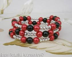 beaded bracelet glass pearl images Pretty red black glass pearl beads memory wire bracelet cuff jpg