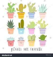 big set illustrations cute cartoon cactus stock vector 492636034