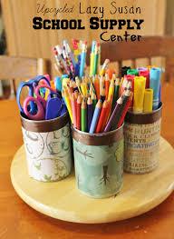 Teacher Desk Organization by Upcycled Lazy Susan School Supply Center Great Teacher Gift
