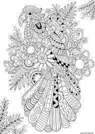 Coloriage zentangle perroquet oiseau adulte  JeColoriecom