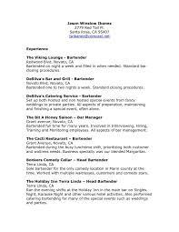 bartender resume template bartending resume exles bar resume sle exles resumes