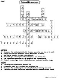 and nonrenewable natural resources worksheet crossword puzzle