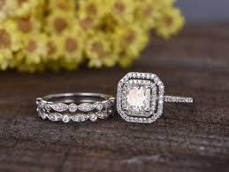 set diamond 1 carat asscher cut moissanite engagement ring set diamond wedding