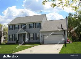Colonial Style House by Suburban Colonial Style House Under Blue Stock Photo 52403185
