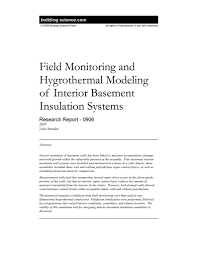 rr 0906 field monitoring and hygrothermal modeling of interior