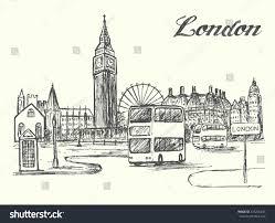 london city scene double decker bus stock vector 435206245