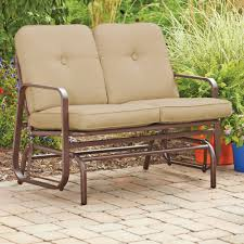 Garden Rocking Bench Furniture Metal Ridge Outdoor Glider Bench Wih Chocolate Cushions