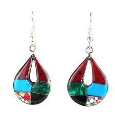 Deal Alert Turquoise Chandelier Earrings Handmade Alpaca Silver Gemstone Teardrop Earrings Mexico Free