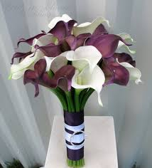wedding flowers calla wedding bouquet plum white real touch wedding flowers