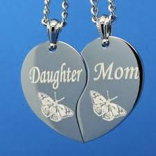 Engravable Heart Necklace Mom Daughter Broken Heart Split Heart Necklace Butterfly