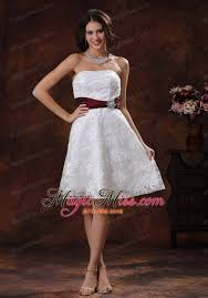 lace over shirt elegant short wedding dress with wine red belt in