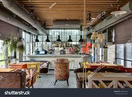 fantastic interior loft style mexican restaurant stock photo