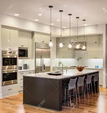 kitchen interior with island sink cabinets and hardwood floors