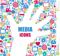 media design background with media icons modern and retro design elements