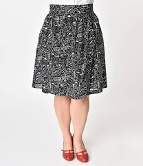 cotton skirt folter plus size black white science print a line cotton skirt