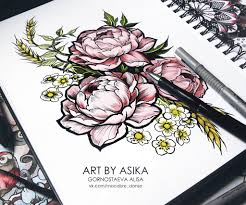 peony tattoo flash dotwork by asikaart on deviantart
