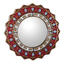 Decorative Framed Mirrors Amazon Com Novica Red Reverse Painted Glass Wood Framed