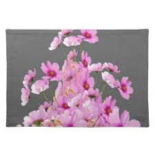 style flower fuchsia pink cosmos grey floral design placemat floral style