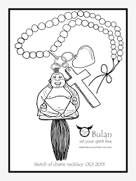 sketch of the day no 195 happy buddha loves god charm necklace