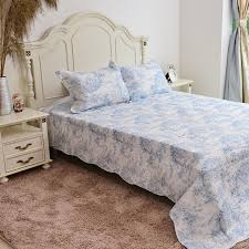 limited edition toile de jouy reversible printed quilt blue