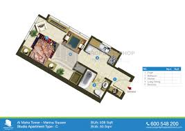 Studio Floor Plan by Floor Plans Of Al Maha Tower Al Reem Island