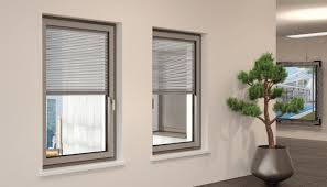 aluminium window with built in blinds twin line classic cristal by