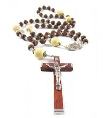 wooden rosary mens large handmade wooden rosary necklace in chocolate brown and