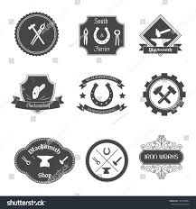blacksmith shop graphic labels collection set stock vector