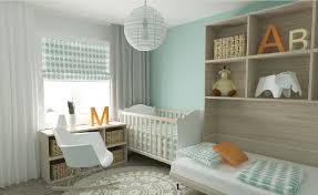 3d light blue bedroom with crib 3d house
