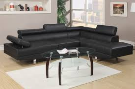 Livingroom Pc Couch Leather Sofa Black Sectional Chaise 2 Pc Living Room Set