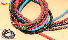 make leather cord bracelet images 6mm braid genuine round leather cord strips string 18 color diy jpg