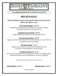 menu for brunch brunch menu embassy pub grill montreal