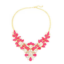 necklace pink stone images Amaryllis hot pink stone flower cluster crystal statement necklace jpg
