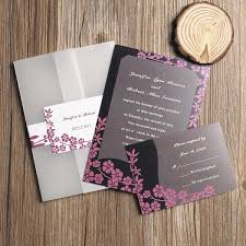 wedding invitation set rustic black and pink floral pocket wedding invitations ewpi070 as