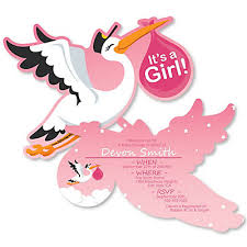 stork baby shower girl special delivery shaped pink stork baby shower invitations
