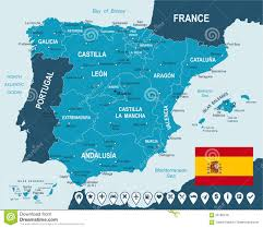 Map Of Spain And France by Map Of Spain With Flag Royalty Free Stock Photos Image 7392108