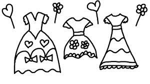 coloring page of pretty dresses for children to learn colors