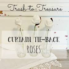 trash to treasure lace curtain tie back roses little vintage cottage
