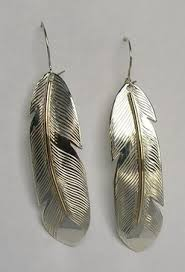 silver feather earrings feather earrings disc teardrop with american designs symbols