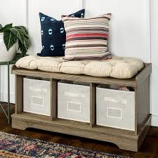 42 inch driftwood storage bench with totes and cushion free