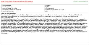 welding supervisor cover letter
