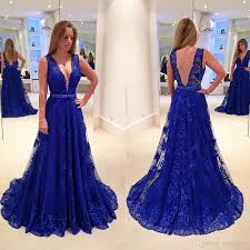 2017 roal blue a line mother of the bride dresses plunging